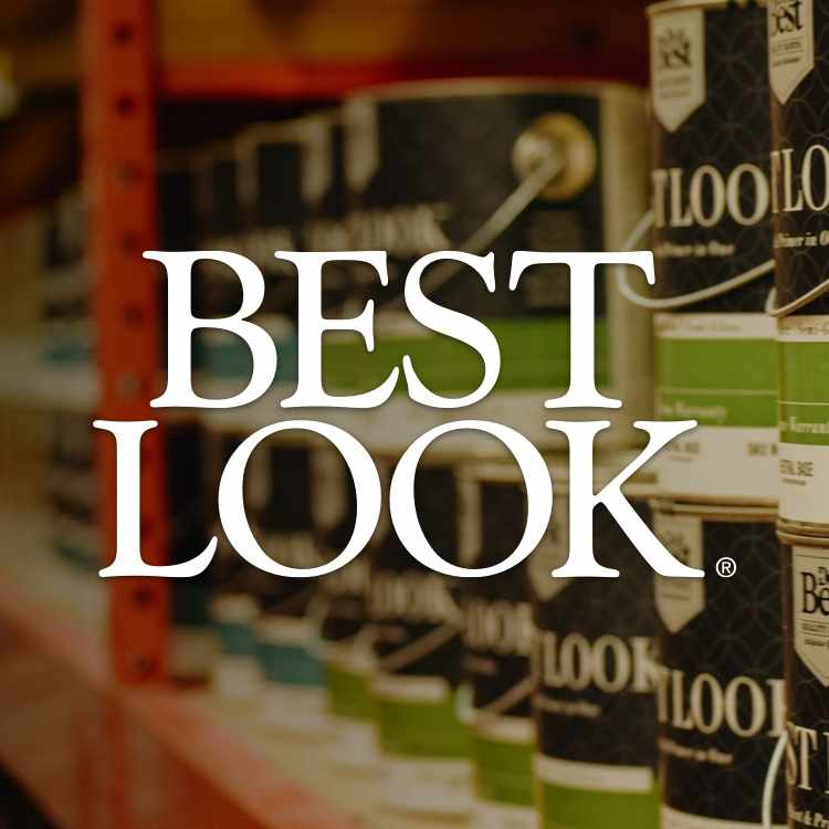 Best Look logo with Best Look paint cans in aisle