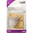 National Catalog 117 2 In. x 3/8 In. Brass Flat Corner Iron (4-Count) Image 2