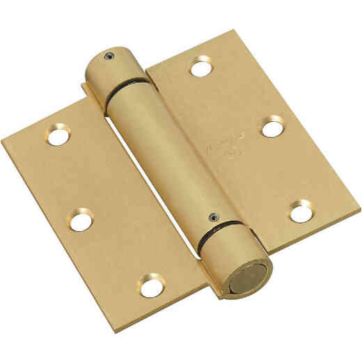 National 3-1/2 In. Square Satin Brass Spring Door Hinge