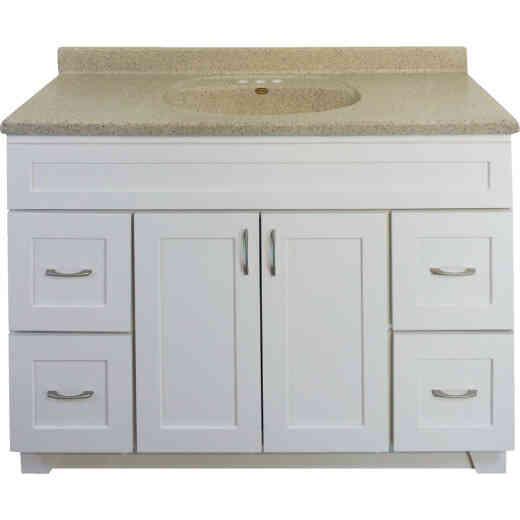 CraftMark Shaker Retreat White 48 In. W x 34 In. H x 21 In. D Vanity Base, 2 Door/4 Drawer