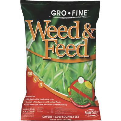 Gro-Fine Weed & Feed 39 Lb. 15,000 Sq. Ft. 30-0-3 Lawn Fertilizer with Weed Killer