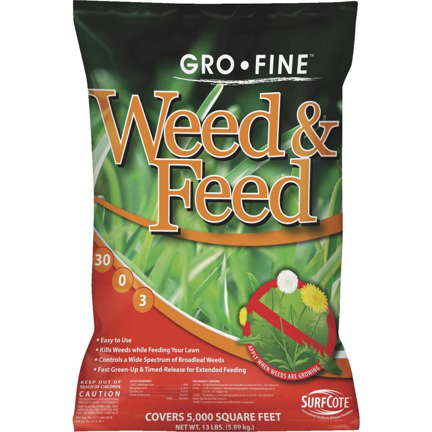 Gro-Fine Weed & Feed 13 Lb. 5000 Sq. Ft. 30-0-3 Lawn Fertilizer with Weed Killer Image 1